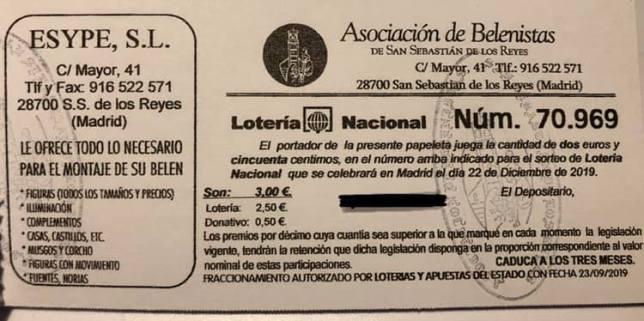 Foto papeleta lotería 2019